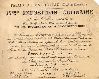 Expositions Culinaires de Paris 1896-1911