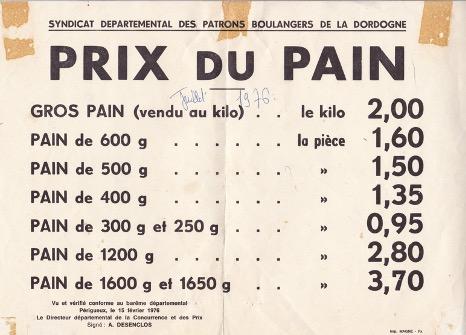 Prix du Pain, 1976